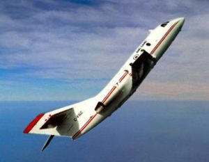 Photo of NRC's Falcon 20 executing a microgravity parabola